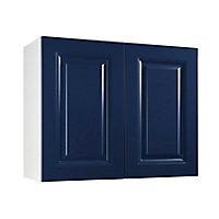 Meuble de cuisine Candide bleu façade 1 porte L. 90 cm + caisson haut
