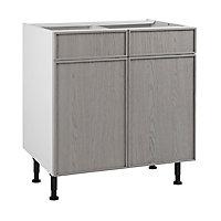Meuble de cuisine Kontour gris façades 2 portes 2 tiroirs + caisson bas L. 80 cm