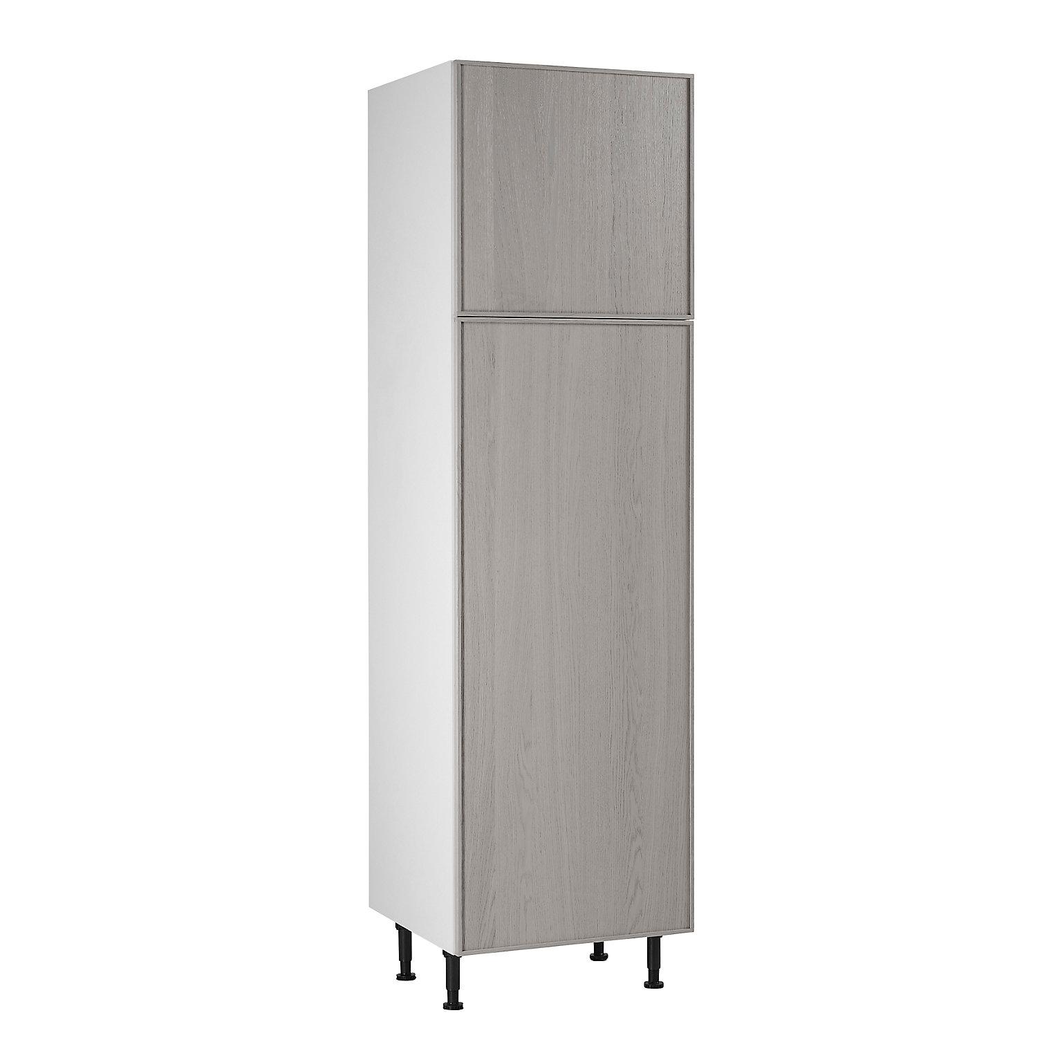 Meuble de cuisine Kontour gris façades 12 portes + caisson colonne L. 12 cm