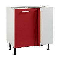 Meuble de cuisine Spicy rouge d'angle façade 1 porte + kit fileur + caisson bas L. 80 cm