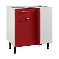 Meuble de cuisine Spicy rouge d'angle façade 1 porte 1 tiroir + kit fileur + caisson bas L. 80 cm