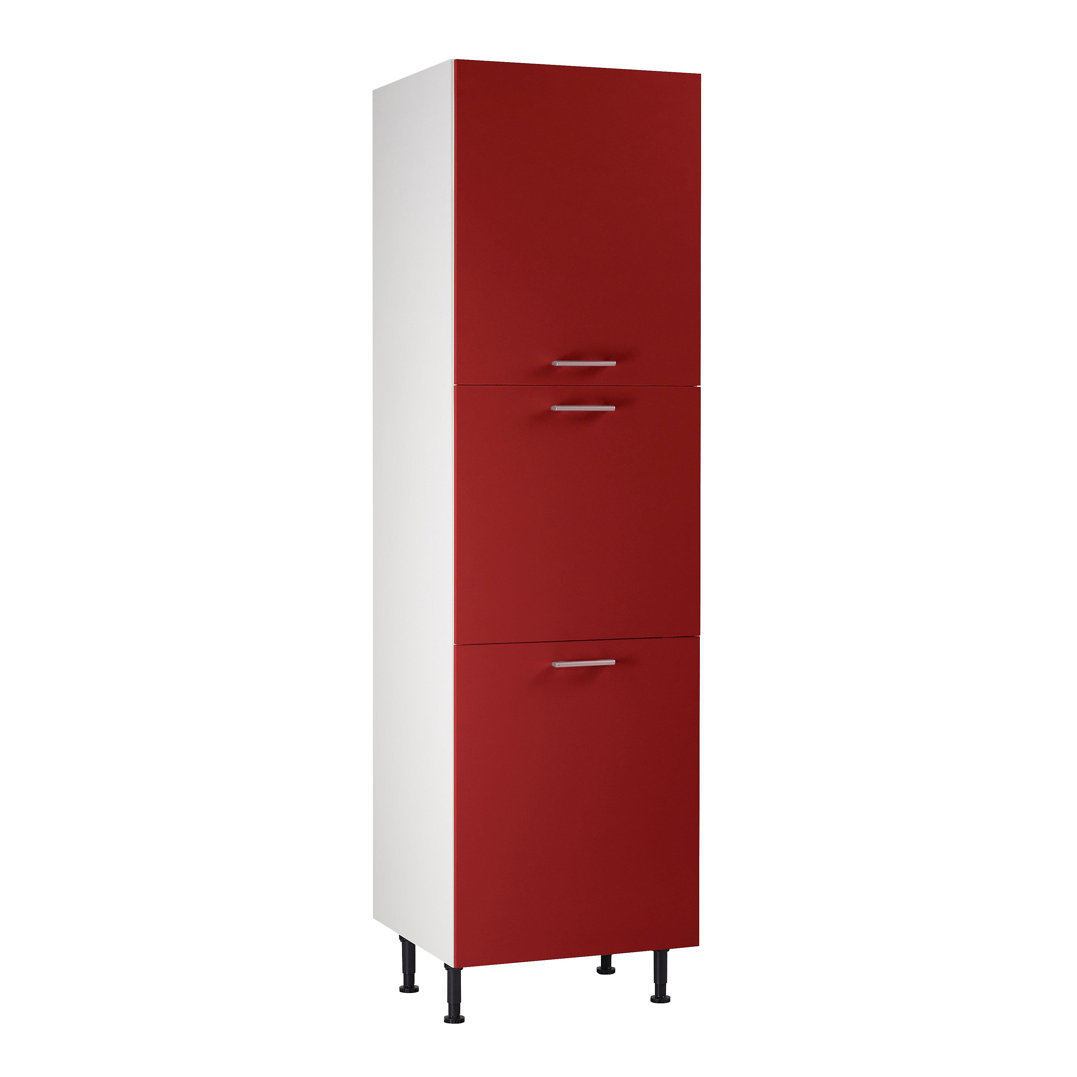 Meuble de cuisine Spicy rouge façades 12 portes + caisson colonne L. 12 cm