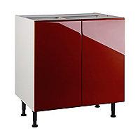 Meuble de cuisine Globe rouge façades 2 portes + caisson bas L. 80 cm