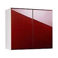 Meuble de cuisine Globe rouge façade 1 porte L. 90 cm + caisson haut