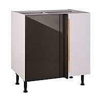 Meuble de cuisine Artic poivre brillant d'angle façade 1 porte 1 tiroir + kit fileur + caisson bas L. 80 cm