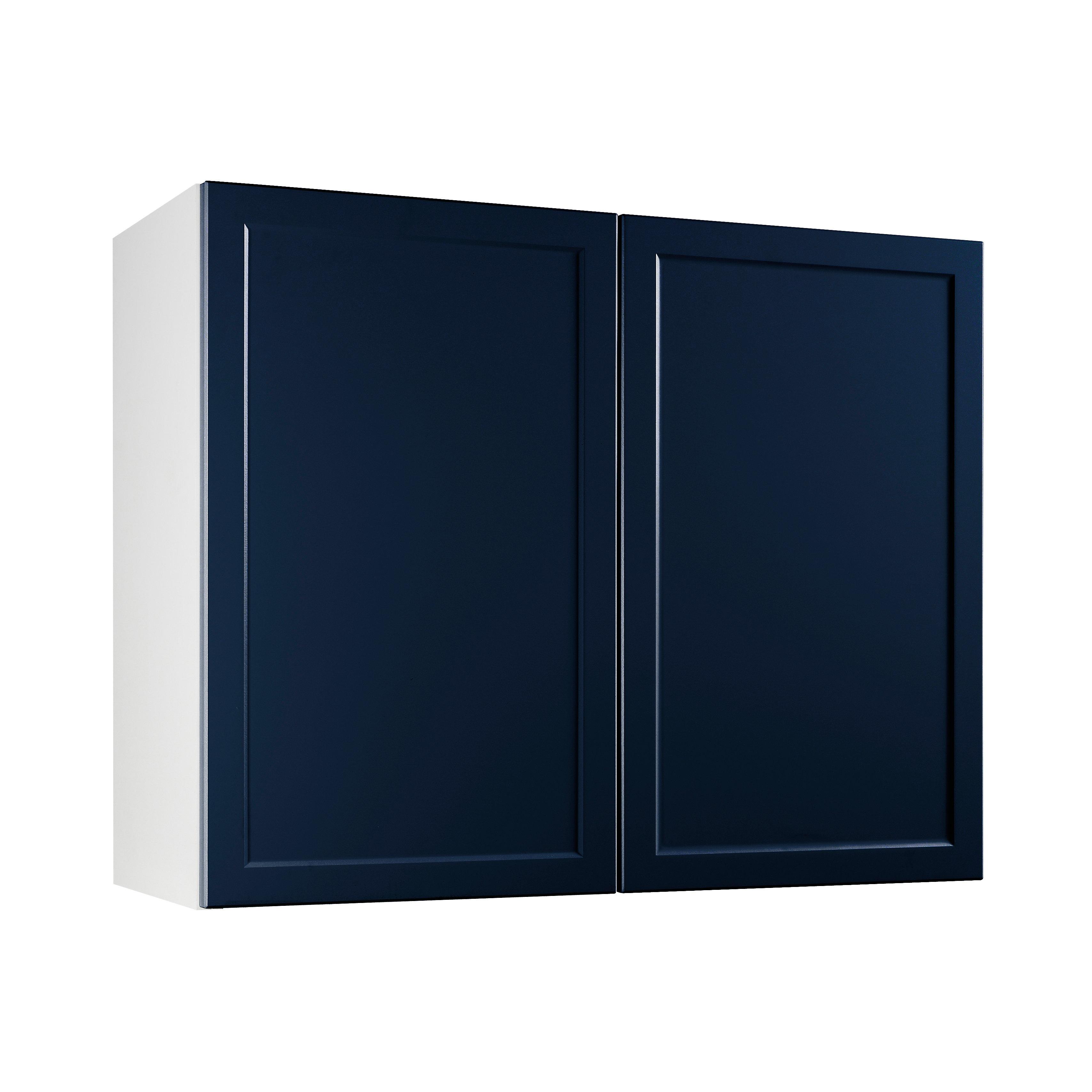 Meuble de cuisine Fog bleu nuit façade 12 porte L. 12 cm + caisson haut