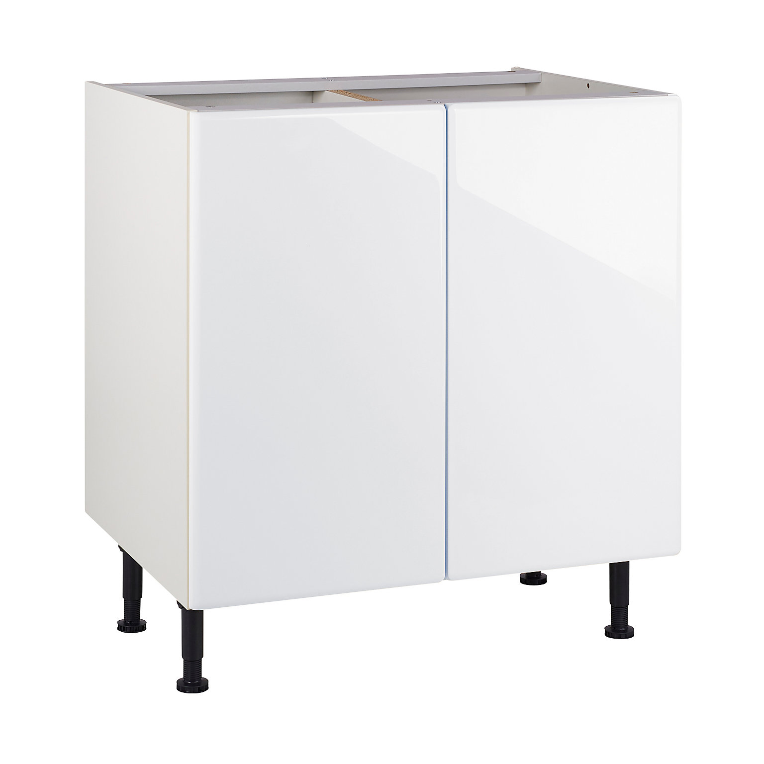 Meuble de cuisine Sixties blanc façades 12 portes + caisson bas L. 12 cm