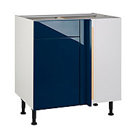 Meuble de cuisine Gossip bleu d'angle façade 1 porte + kit fileur + caisson bas L. 80 cm