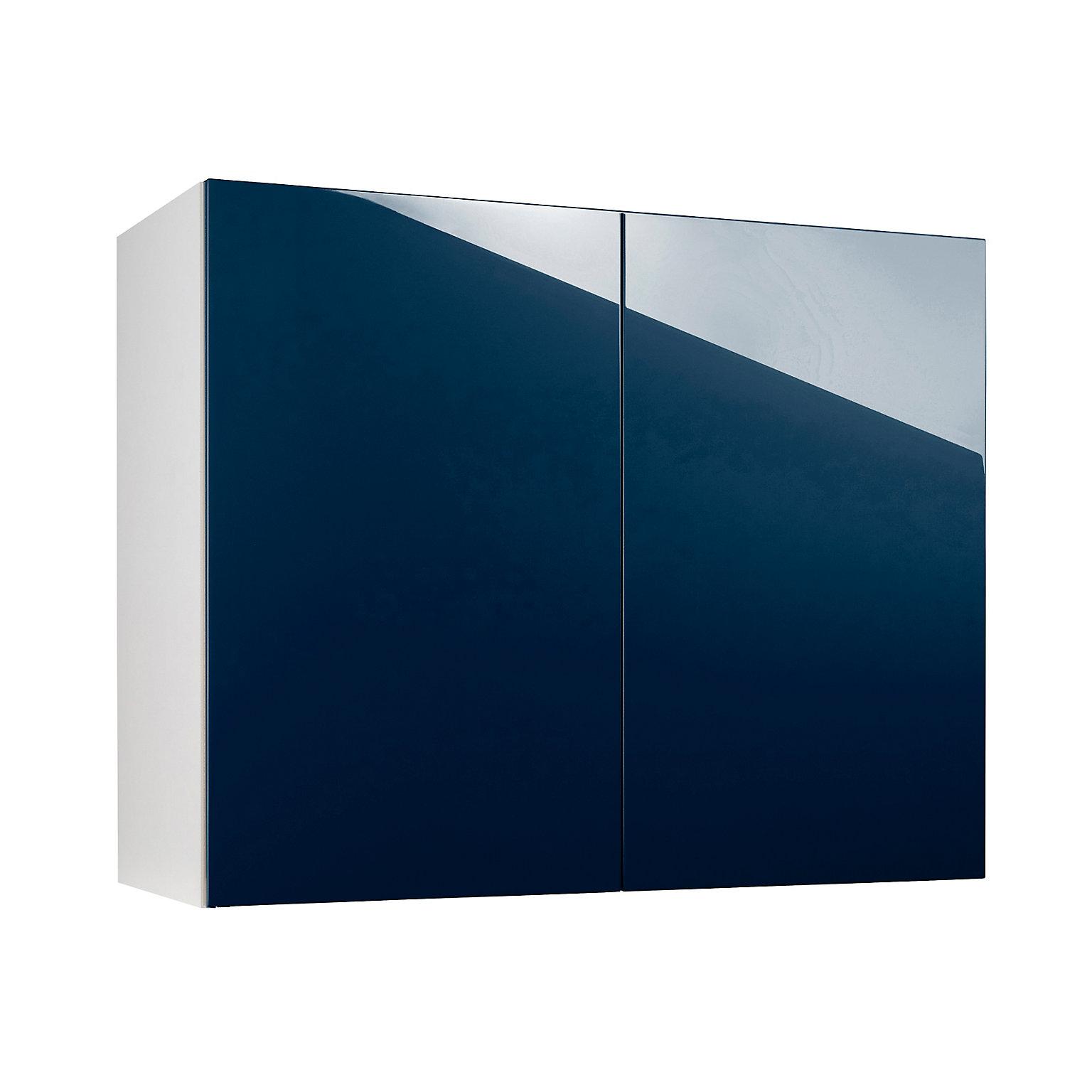 Meuble de cuisine Gossip bleu façades 15 portes + bandeau four + caisson  colonne L. 15 cm