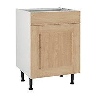 Meuble de cuisine Kadral bois façades 1 porte 1 tiroir + caisson bas L. 60 cm
