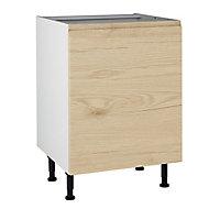 Meuble de cuisine Epura bois façade 1 porte + caisson bas L. 60 cm