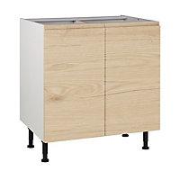 Meuble de cuisine Epura bois façades 2 portes + caisson bas L. 80 cm