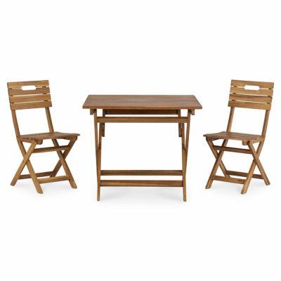 Lot table de jardin en acacia Denia pliante + 2 chaises de jardin en acacia pliante