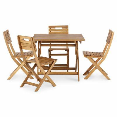 Lot table de jardin bois rectangulaire blooma denia 4 chaises de jardin