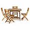 Lot table de jardin bois rectangulaire Blooma Denia + 4 chaises de jardin