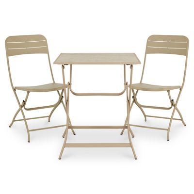 Lot table de jardin métal carrée Blooma Aronie sable + 2 chaises de jardin