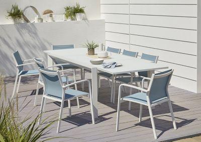 Lot table de jardin aluminium et verre Blooma Bacopia + 6 fauteuils de jardin
