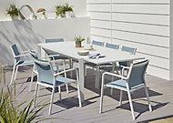 Salon de jardin Bacopia - Table + 6 fauteuils bleu