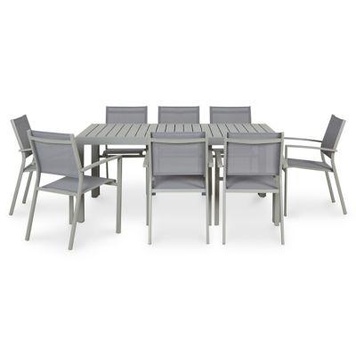 Lot table de jardin Blooma Baldi + 6 fauteuils de jardin aluminium et toile