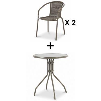 Lot table de jardin ronde Blooma Bari grise ø60 cm + 2 fauteuils de jardin Bari