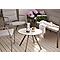 Lot table basse métal ronde Blooma Derry  + 1 banc de jardin  + 1 fauteuil de jardin