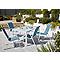 Lot table Janeiro blanche L. 150 cm + 4 fauteuils de jardin métal et toile Blooma Janeiro