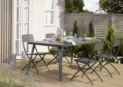 Lot table de jardin métal rectangulaire Blooma Katalla + 4 ...