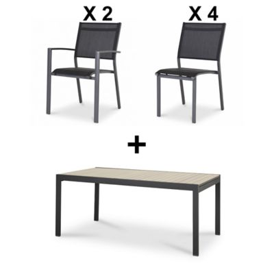 Lot table de jardin Morlaix + 4 chaises de jardin Batz + 2 fauteuils de jardin Batz