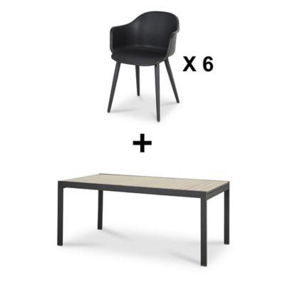 Lot table de jardin aluminium Blooma Morlaix + 6 fauteuils de jardin