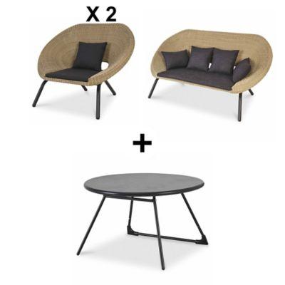 Lot table basse de jardin Nova + 2 fauteuils de jardin Loa + 1 canapé de  jardin Loa | Castorama