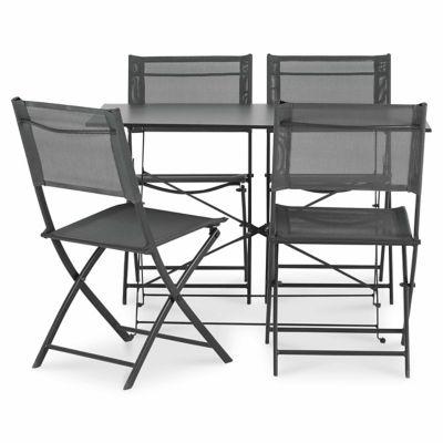 Lot table de jardin Saba anthracite pliante + 4 chaises de jardin