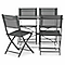 Lot table de jardin Saba anthracite pliante + 4 chaises de jardin