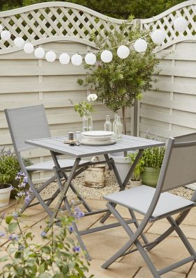 Lot table de jardin en aluminium Batang + 2 chaises de jardin pliante