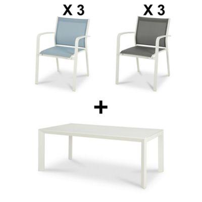 Lot table de jardin Bacopia + 3 fauteuils de jardin + 3 fauteuils de jardin Riccia
