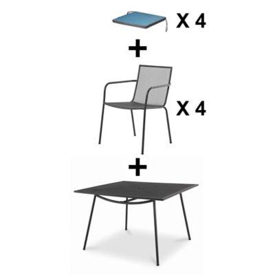 Lot table de jardin Adélaide + 4 fauteuils de jardin + 4 galettes de chaise