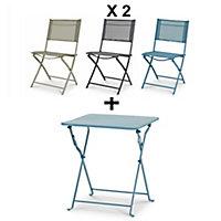 Lot table basse métal carrée Saba + 2 chaises grises + chaise bleue + chaise verte