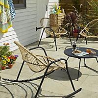 Lot table basse de jardin Nova + Fauteuil de jardin rocking chair + Fauteuil de jardin