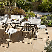 Lot table de jardin métal et marbre Sofia + 4 chaises de jardin Sofia + 4 galettes de chaise Sofia
