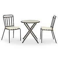 Lot table de jardin métal et marbre ronde Sofia + 2 chaises de jardin Sofia + 2 galettes de chaise Sofia