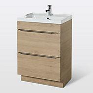 Meuble sous vasque à poser GoodHome Imandra bois 60 cm + plan vasque Lana