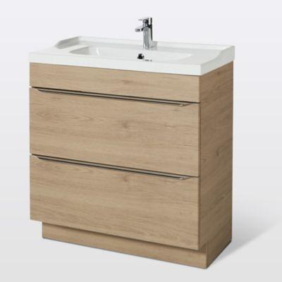 Meuble sous vasque à poser GoodHome Imandra bois 80 cm + plan vasque Lana