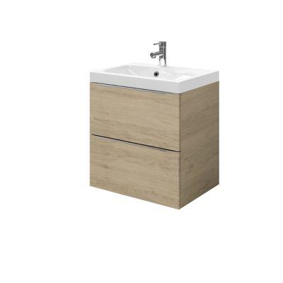 Meuble sous vasque à suspendre GoodHome Imandra bois 60 cm + plan vasque Mila