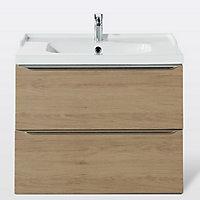 Meuble sous vasque à suspendre GoodHome Imandra bois 80 cm + plan vasque Lana