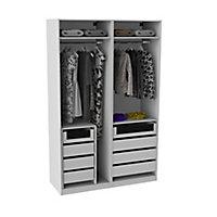 Armoire Darwin 8 tiroirs avec portes battantes L 150 cm x P 56 cm x H 235 cm coloris blanc