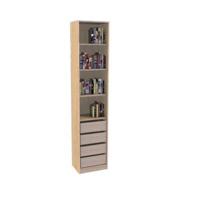 Bibliothèque Darwin 4 tiroirs L 50 cm x P 37 cm x H 235 cm coloris chêne