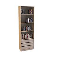 Bibliothèque Darwin 3 tiroirs L 75 cm x P 37 cm x H 235 cm coloris chêne