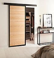 Porte coulissante Loft bois + système en applique