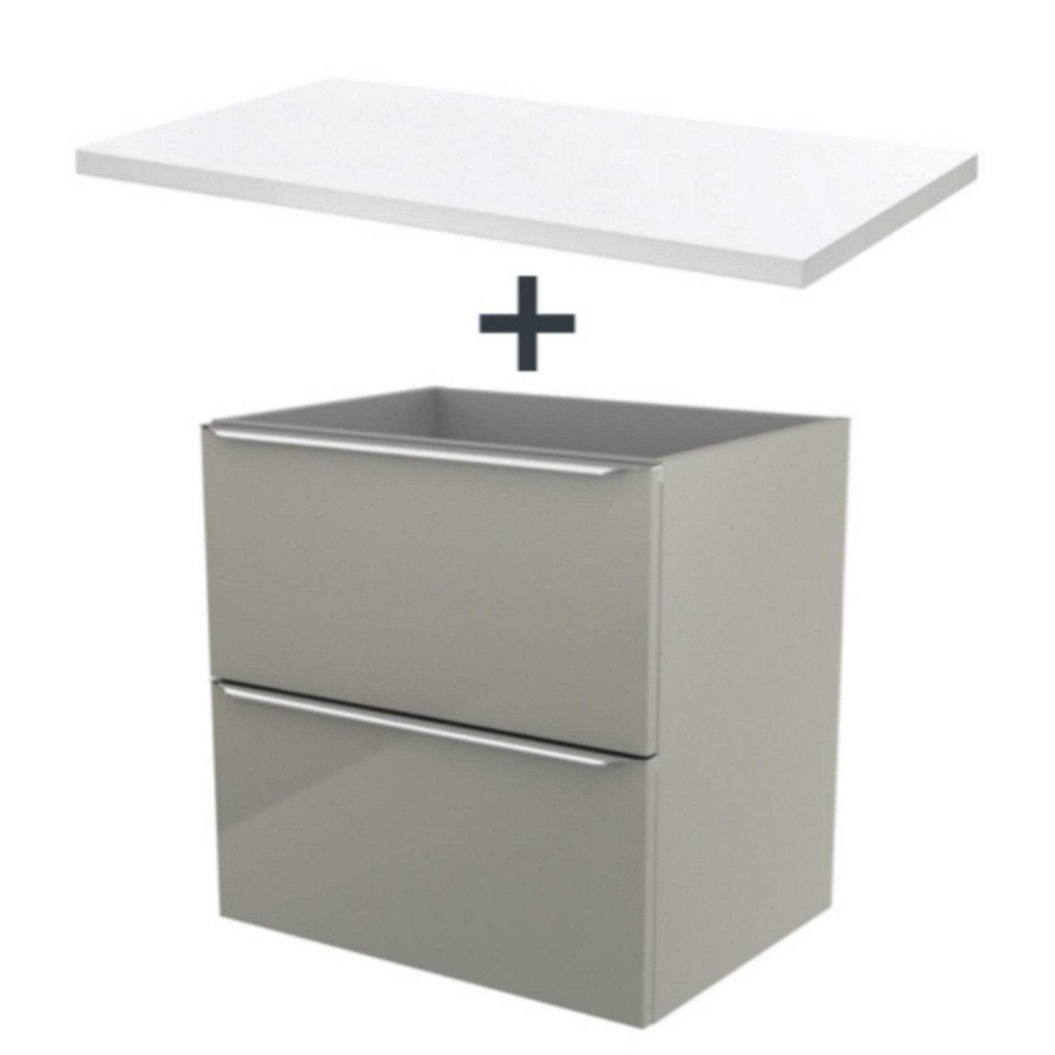 Meuble sous vasque à suspendre GoodHome Imandra taupe 12 cm + plan de  toilette Marloes