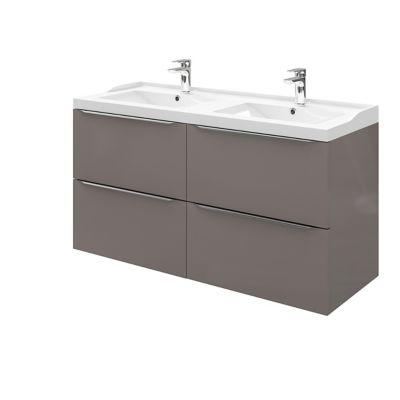 Meuble sous vasque à suspendre GoodHome Imandra gris taupé 120 cm + plan vasque Lana