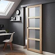 Porte coulissante plaqué chêne 4 carreaux vitrés + système Oléni